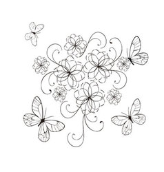 flourishes with butterflies in black vector image