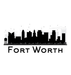 fort worth city skyline black and white silhouette vector image vector image