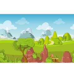 Nature seamless landscape with hills trees vector image