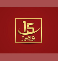 15 years anniversary with square and swoosh vector