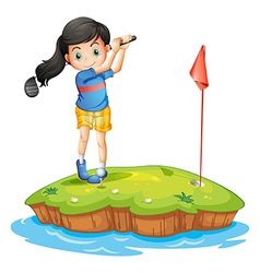 A young lady golfing vector image