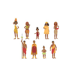 African people set aboriginal men women and kids vector