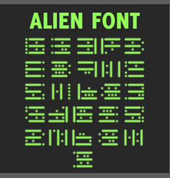alien font set bright green letters for the vector image