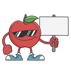 apple character with sunglasses holding sign vector image