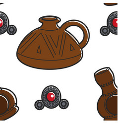 armenian pottery and jewelry clay jug and brooch vector image