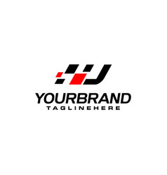 Auto speed letter u with race element logo vector