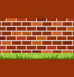 Background design with brickwall and grass vector