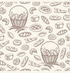 bakery products seamless pattern vector image