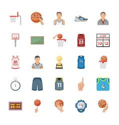Basketball flat icons vector