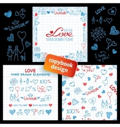 Big set of hand drawn love elements vector image