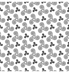 Black and white celtic triskels seamless pattern vector image