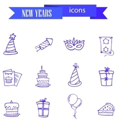 Blue icon of new year elements vector
