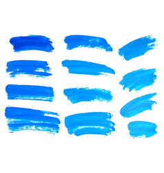 blue watercolor brush strokes abstract isolated vector image