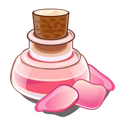 Bottle with pink liquid wooden cork and petals vector