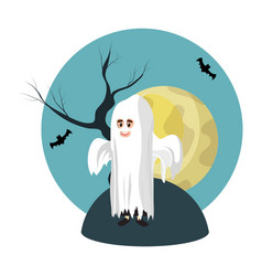 Boy with ghost costume and full moon vector