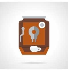 Brown coffee maker flat color design icon vector image