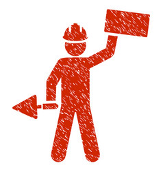 Builder with brick grunge icon vector