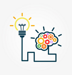 bulb and brain innovation design vector image