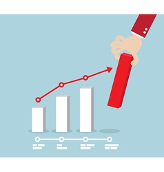 Business Concept Hand Putting Red Up Graph vector