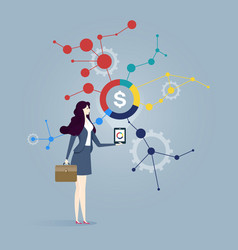 business woman with analyze of business business vector image