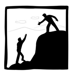 Businessman helping each other hike up mountain vector