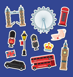 cartoon london stickers set vector image