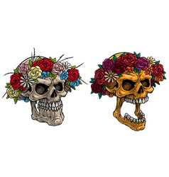 cartoon realistic human skulls with flower wreath vector image