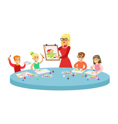 children in art class two cartoon vector image