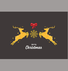christmas reindeers greeting card vector image