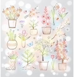 Collection of doodle sketch garden flowers vector image