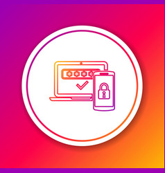 Color multi factor two steps authentication line vector