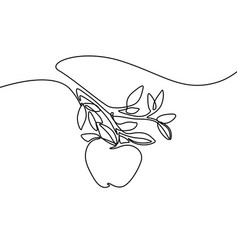 continuous line apple in hand vector image