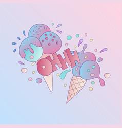 cute cartoon ice cream icon with vector image