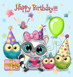 cute raccoon and owls with balloon and bonnets vector image