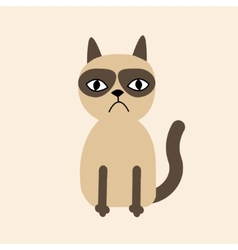 Cute sad grumpy siamese cat in flat design style vector