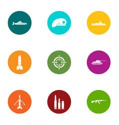 Defense equipment icons set flat style vector
