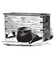 elder brewsters chest and dinner pot vintage vector image