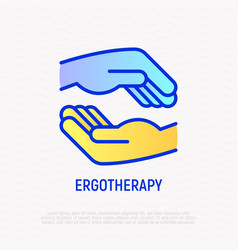 Ergotherapy thin line icon occupational therapy vector