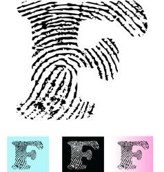Fingerprint Alphabet Letter F vector image