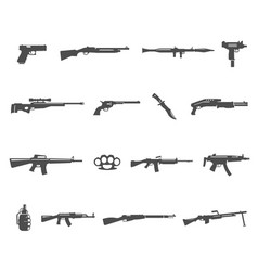 firearm mine grenade knife icons set isolated vector image