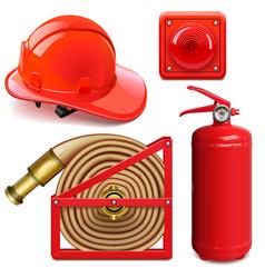 Firefighter accessories vector
