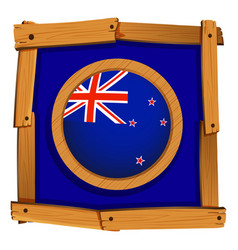 flag of new zealand on wooden frame vector image