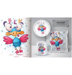 Fly bird poster and merchandising vector
