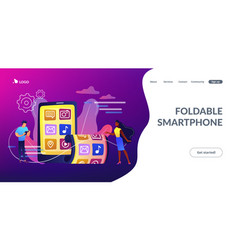foldable smartphone concept landing page vector image