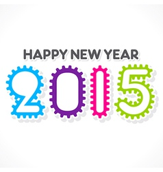 Gear design pattern new year 2015 greeting vector