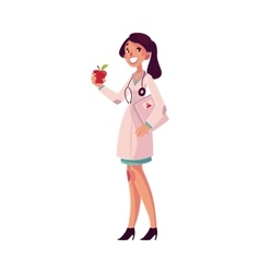 Glad smiling female dietitian holding weighting vector