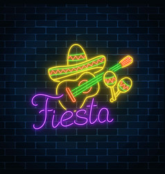 Glowing neon fiesta holiday sign mexican festival vector