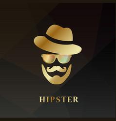 golden hipster man hipster hat vector image
