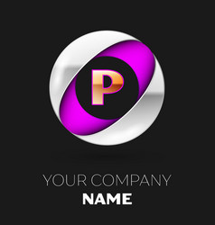 golden letter p logo in the silver-purple circle vector image