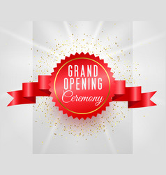 grand opening ceremony celebration banner with 3d vector image